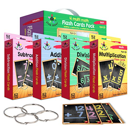 Star Right Multi Math Flashcards Pack - Addition, Subtraction, Multiplication, & Division - 1 Ring and 52 Hole Punched Cards Per Set - 208 Cards Total