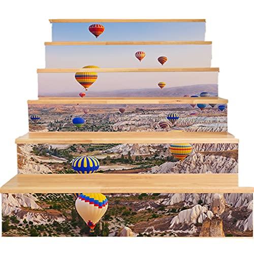 MVNZXL Pegatinas de Escalera, Pegatinas de Escalera extraíbles de Bricolaje a Prueba de Agua, 6 Piezas, calcomanías de Escalera Autoadhesivas para Suelo, para decoración Mural(Color:A)