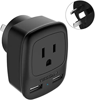 China Australia Power Plug Adapter, TESSAN New Zealand Power Adapter with 2 USB Ports, Type I Plug Adapter for US to Australia, China, New Zealand, Fiji, Argentina