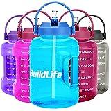 BuildLife Botella de agua de 2,5 l con diseño de estrellas y marcador de tiempo motivador, sin BPA, boca ancha con asa, reutilizable, antigoteo (azul cielo, 2,5 L)