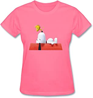 SLJD Women's Snoopy and Woodstock Flying Ace Design Short Sleeve T Shirt
