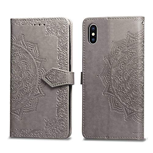 Cmeka Slim Wallet Kickstand Case for iPhone X/iPhone Xs/iPhone 10,3D Relief Mandala Flower Flip Magnetic Leather Back with Card Solts Holder Phone Cover (Gray)