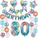 Juego de decoración de 80 cumpleaños para mujer, hombre, arcoíris, decoración de cumpleaños para 80 años, globos con guirnalda de Happy Birthday para género, Reveal, hombre y mujer