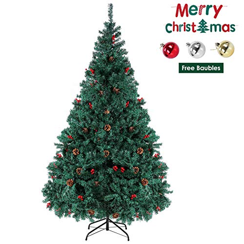 femor 6ft Artificial Christmas Tree Xmas Pine Tree Decorated with Pine Cones, Red Berries, Baubles for Indoor and Outdoor, House, Office, School(6FT)