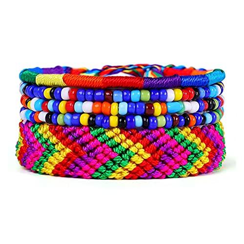 OCGDZ Bohemian Hilo Pulsera Semilla Bead Hecho A Mano Multicolor Cuerda Cordón Tejido Braidado Hippie Amistad Pulseras Mujeres Hombres 5pcs / Set (Metal Color : 7)