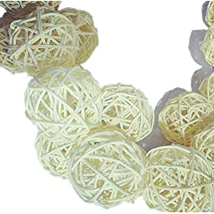 10 Pieces/Set Rattan Wicker Ball Decoration Ornaments Wedding Christmas Party Table Desk Garden Hanging Decoration,natural color,3cm