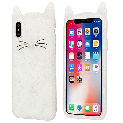 Yoedge Cover iPhone SE 2020, Antiurto Protective Silicone Case Cover TPU Gel Custodia con 3D Cartoon Disegni [Gatto] per Apple iPhone 8/7 (4.7 Pollici) Smartphone (Trasparente)