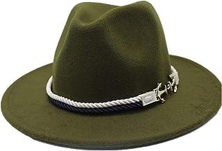 Fashion Sun Hat for Men Women Wool Fedora Hat European American Hat OutBlack Church Wide Brim Felt Hat Suitable for hot Weather Season (Color : Green, Size : 56-58CM)