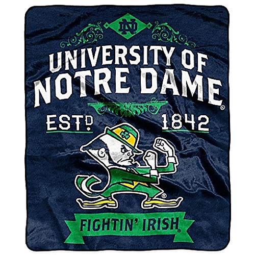 The Northwest Company Officially Licensed NCAA Notre Dame Fighting Irish College Label Plush Raschel Throw Blanket, 50' x 60', Multi Color