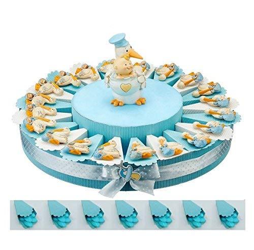 BOMBSINDY Torta bomboniera per Battesimo Nascita cicogne magneti Bimbo Maschietto con Centrale salvadanaio