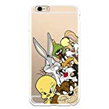 Funda para iPhone 6 Plus - 6S Plus Oficial de Looney Tunes Personajes Siluetas Transparente para Proteger tu móvil. Carcasa para Apple de Silicona Flexible con Licencia Oficial de Warner Bros.