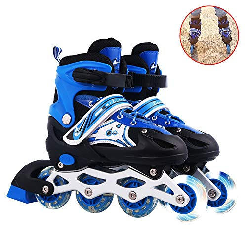 HAIRCURLER Inline Skates for Kids Roller Blades Adjustable Inline Skates with Light Up Wheels for Teens Professional Roller Blades Comfortable Triple Protection Best Gift for Children'sBlue-M 33~37