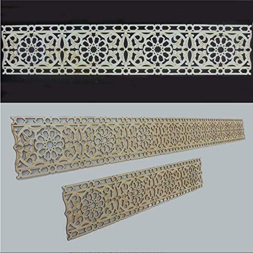 Zagora Dekorpanel Bordüre mit Ornament Blüten - Holz 4Stk je 50 * 10 * 0,3cm - Zierleiste Verkleidung