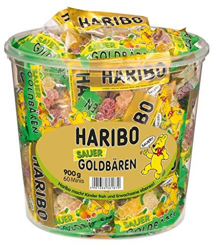 Haribo Goldbären-Dose Minibeutel Sauer 60 Stück, 900g