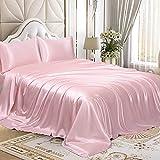 Homiest 4pc Queen Sheet Set Blush Pink Satin Bedding Sheets Set,Queen Bed Sheet Set with Deep Pockets Fitted Sheet