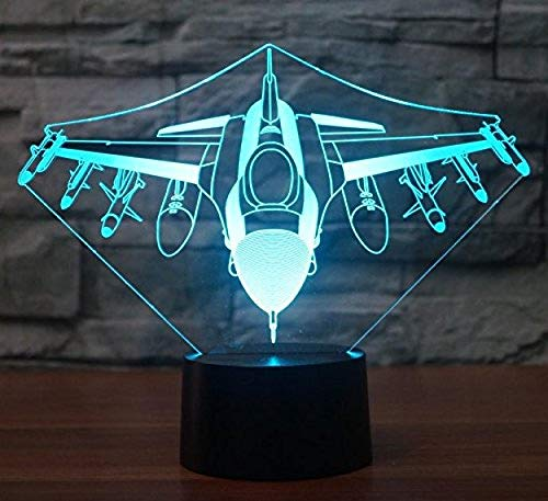 Plane Bomber Acrylic 7Colors Desk Lamp 3D Lamp Novelty Led Night Light Blue