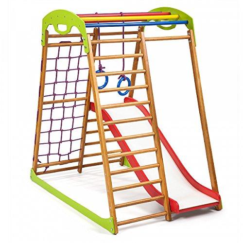 Kinder zu Hause Fitness-Studio ˝Babywood-1˝ Holzspielplatz, Kletterwand, Kinder zu Hause aus Holz, Turnwand, Sprossenwadn