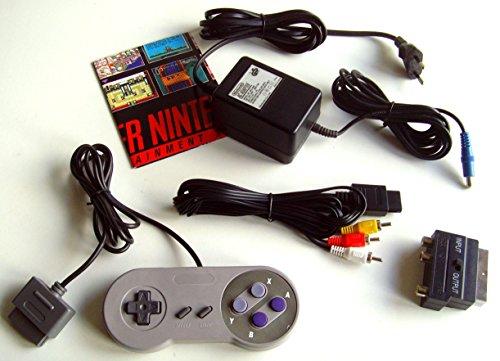 komplettes SNES remake Zubehör Set: Original Nintendo Netzteil 1 Controller Cinch AV TV Kabel + Scart Adapter für SNES Super Nintendo Konsole