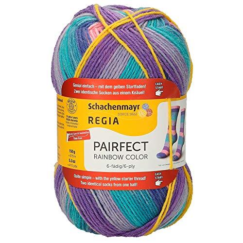 REGIA 6-fädig Rainbow Color 9801173-02767 frozen Handstrickgarn, Sockengarn, 150g Knäuel