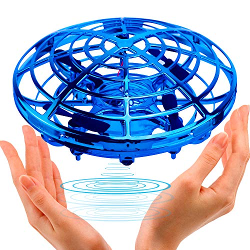 UFO Flying Ball Toys,TURN RAISE Motion Hand-Controlled Suspension Helicopter Toy Infrared Induction Interactive Drone Indoor Flyer Toys with 360°Rotating and Flashing LED Lights for Kids, Boys ,Girls