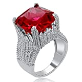Uloveido Anello Grande in Cristallo Quadrato Rosso per Donna, Fasce per Matrimonio Larghe in zirconi cubici, Anello da Ballo per Cocktail Party