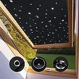 KINLO Protección Solar térmica para Ventanas detecho Protección térmica para Interiores sin taladrar y sin Pegamento Gran selección para Ventanas Velux CK04-38 x 75cm - Negro con Estrella