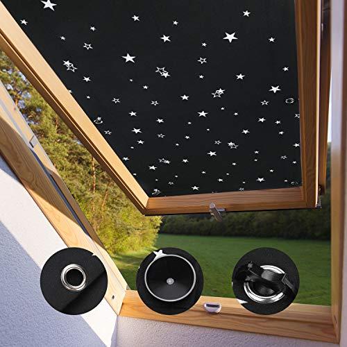 KINLO Zonwering voor Velux-dakramen(zwart met ster 116*120cm),verduisteringsgordijn zonwering rolgordijn voor Velux dakramen UV-bescherming thermisch rolgordijn met zuignap, 7 stevige zuignappen zonder boren