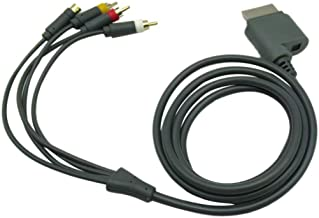 PK Power 6ft Video Audio Composite AV RCA Cable Cord for for Microsoft Xbox 360 TV Game