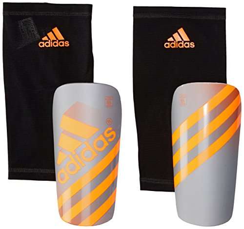 adidas Performance Ghost Shin Guards, Silver Metallic/Solar Orange, Large