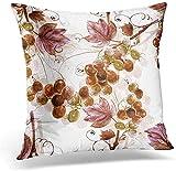 KLing Coussin carré taie d'oreiller Housse de Coussin Brun vin Aquarelle Raisin Rose Abstrait décoratif taie d'oreiller décor à la Maison taie d'oreiller,20x20 inches