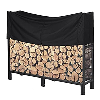 Pinty Ultra Duty Outdoor Firewood Log Rack with Cover Fireplace Wood Holder