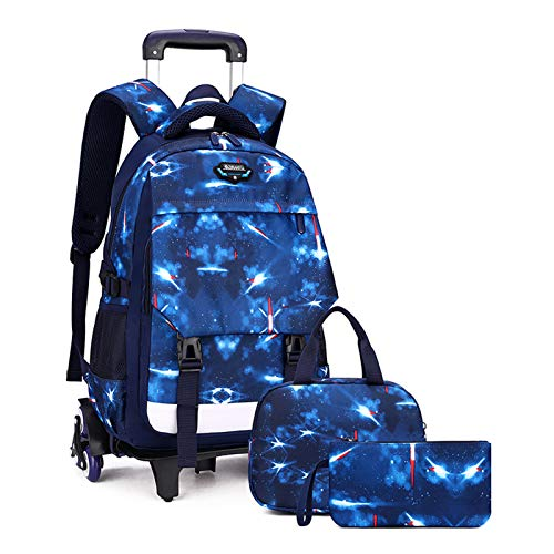 LHY EQUIPMENT Trolley Backpack Set, Children's Starry Sky Trolley Rolling with Pencil Case And Lunch Bag Waterproof Detachable Wheeled Backpack for Kids Can Climb Stairs,Blue