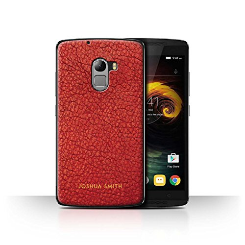 Stuff4 Personalised Phone Case for Lenovo Vibe K4 Note Custom Leather Effect Persian Red Stamp Transparent Clear Ultra Slim Thin Hard Back Cover