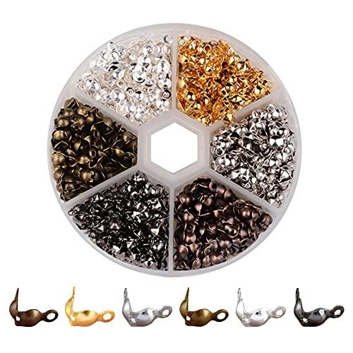 Pamtns 600 Pieza 6 Colores Abiertas Tapa de Nudo Cubierta Puntas de Extremo de Cuentas Cubiertas Abiertas para Nudos Nudos de Engarzado Nudos de Doble Bucle Cubiertas de Nudos