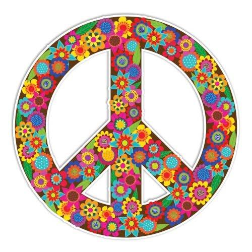 Peace Sign Sticker Flowers Colorful Hippie Decal by Megan J Designs - Laptop Window Car Vinyl Sticker