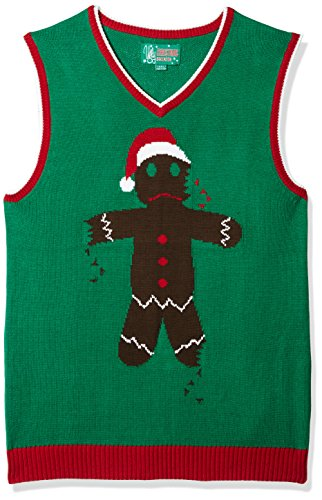 Ugly Christmas Sweater Company Men's Assorted Xmas Themes Sweater, Emerald Gingerbread Man Vest, Medium