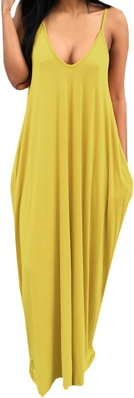 Bigyonger Women's Loose Low V Neckline Spaghetti Straps Maxi Dress Beach Wear