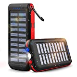 Solar Power Bank Portable Charger 25000mAh Huge Capacity with 3 Outputs 2 Inputs