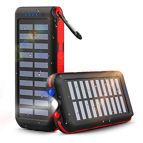 Power Bank Solare 25000mAh, Caricabatterie Solare Portatile Batteria Esterna con 3 Uscite Torcia a LED e Lampada di SOS per Attività All'aria Aperta