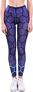 Print Women Polyester Honeycomb Trousers Standard Push Up Sportwear Leggings