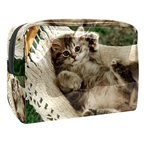 Make-up Taschen Katzenhängematte Wasserdicht leichte Make up Tasche Organizer für Damen Herren und Kinder 18.5x7.5x13cm