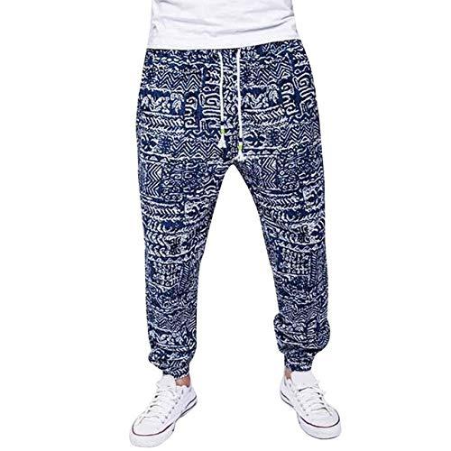 Loeay Pantalones con Estampado Floral para Hombres Pantalones de Lino de algodón Pantalones Sueltos de Verano Otoño Homme Pantalones de chándal de Moda Tallas Grandes Azul Oscuro L