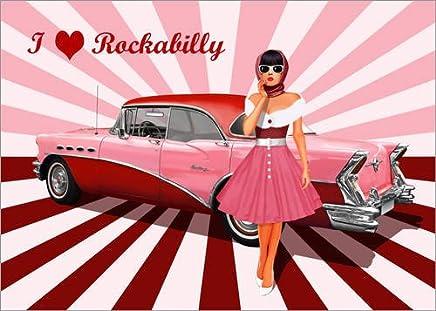 ungerahmt Bild DIN A4 A3 K0773 Rockabilly Barber Lounge Kunstdruck Poster