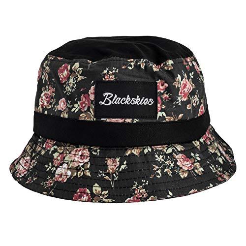 Blackskies Blackskies Black Beauty Bucket Hat Unisex Sonnenhut Fischerhut Schwarz mit Rosen