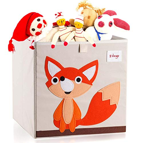 Vmotor Foldable Animal Canvas Storage Toy Box/Bin/Cube/Chest/Basket/Organizer For Kids, 13 inch(Fox)