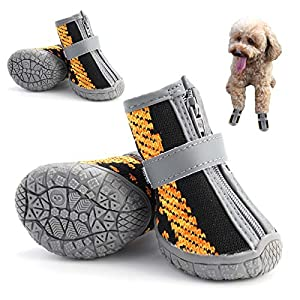 Hcpet Breathable Dog Boots TPR Rubber Non-Slip Waterproof Durable Dog Shoes with Zipper, Puppy Outdoor Paw Protectors with Rubber Soles for Hiking and Running