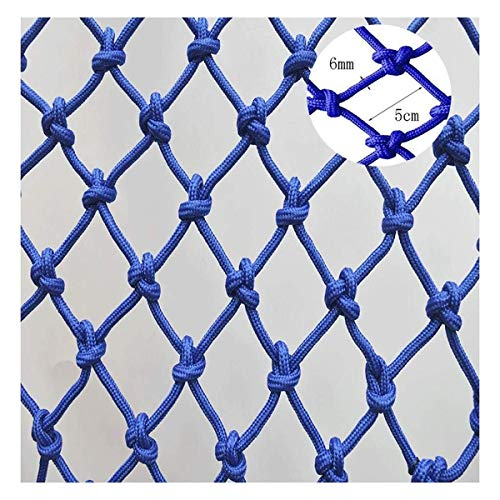Child Safety Net Protection Climbing Frames Blue safety rope, balcony stairs anti-fall online music field barrier network bridge handrail of shopping malls decorative mesh, diameter 6mm, mesh 5cm