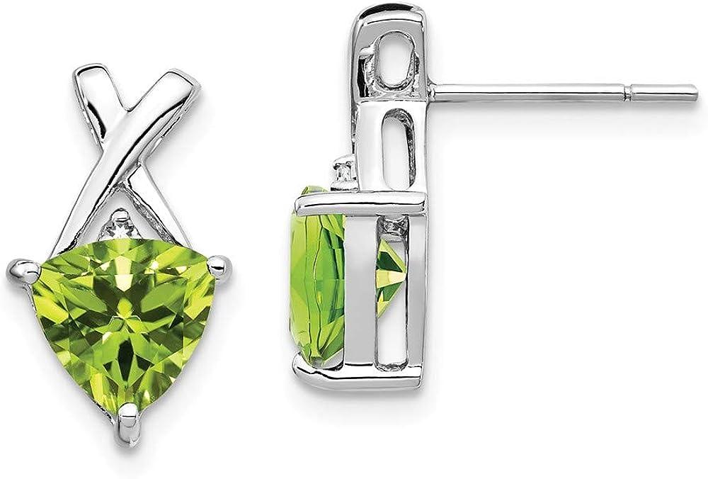 14k White Gold Green Peridot Topaz Trillion Post Stud Earrings Drop Dangle Birthstone August Fine Jewelry For Women Gifts For Her