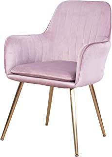 GOLDEN BEACH Elegant Velvet Dinning Chair Mid-Back Support Accent Arm Chair Modern Leisure Upholstered Chair with Gold Plating Legs (Rose Pink)