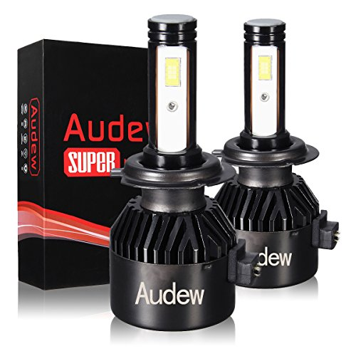 AUDEW LED Headlight Bulbs-H4/HB2/9003 All-in-one conversion kit,Super Bright COB LED Chips,72W 8000LM 6000K,Cool White